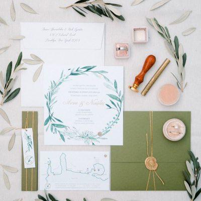 olive inspired wedding stationary