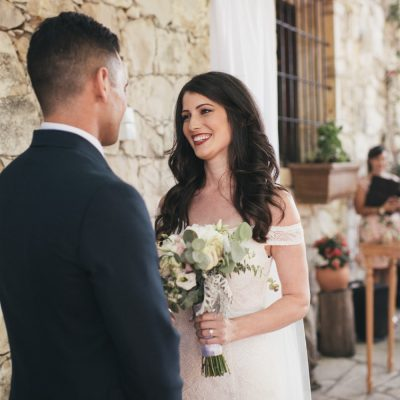 wedding ceremony at rustic winery in Crete