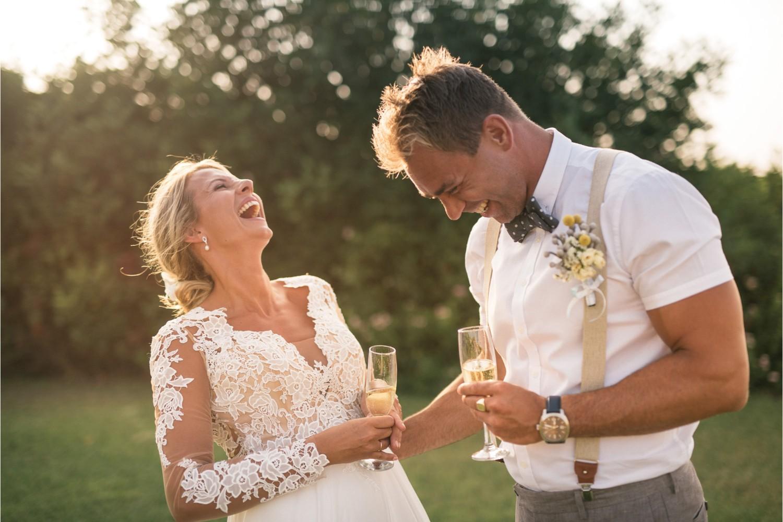 newlyweds at seaside villa wedding in Crete
