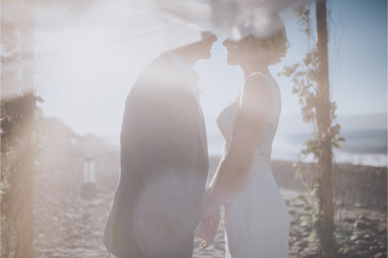 bride & groom at seaside wedding in Crete