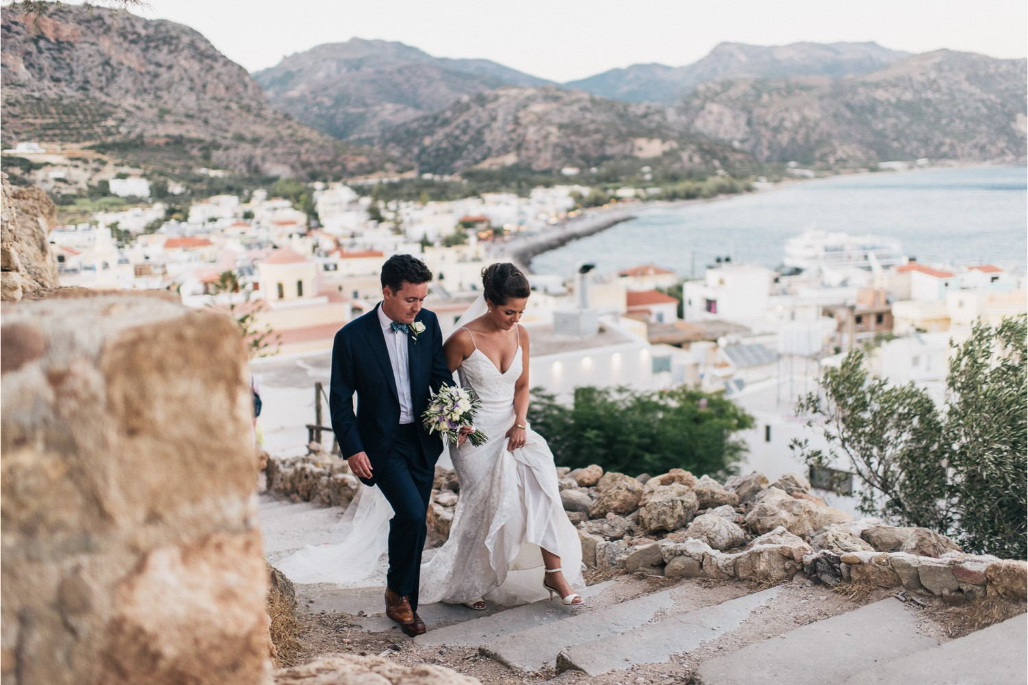 bride and groom at Greek orthodox wedding in Crete