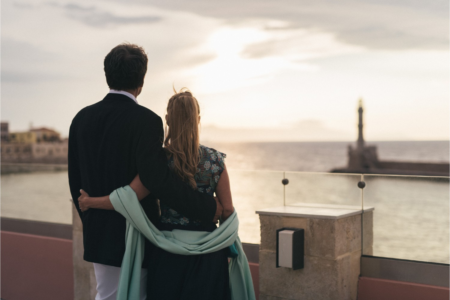 couple's photo session after vow renewal ceremony in Crete
