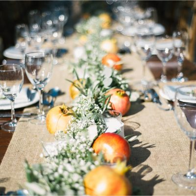 pomegranate garland at rustic estate wedding in Crete
