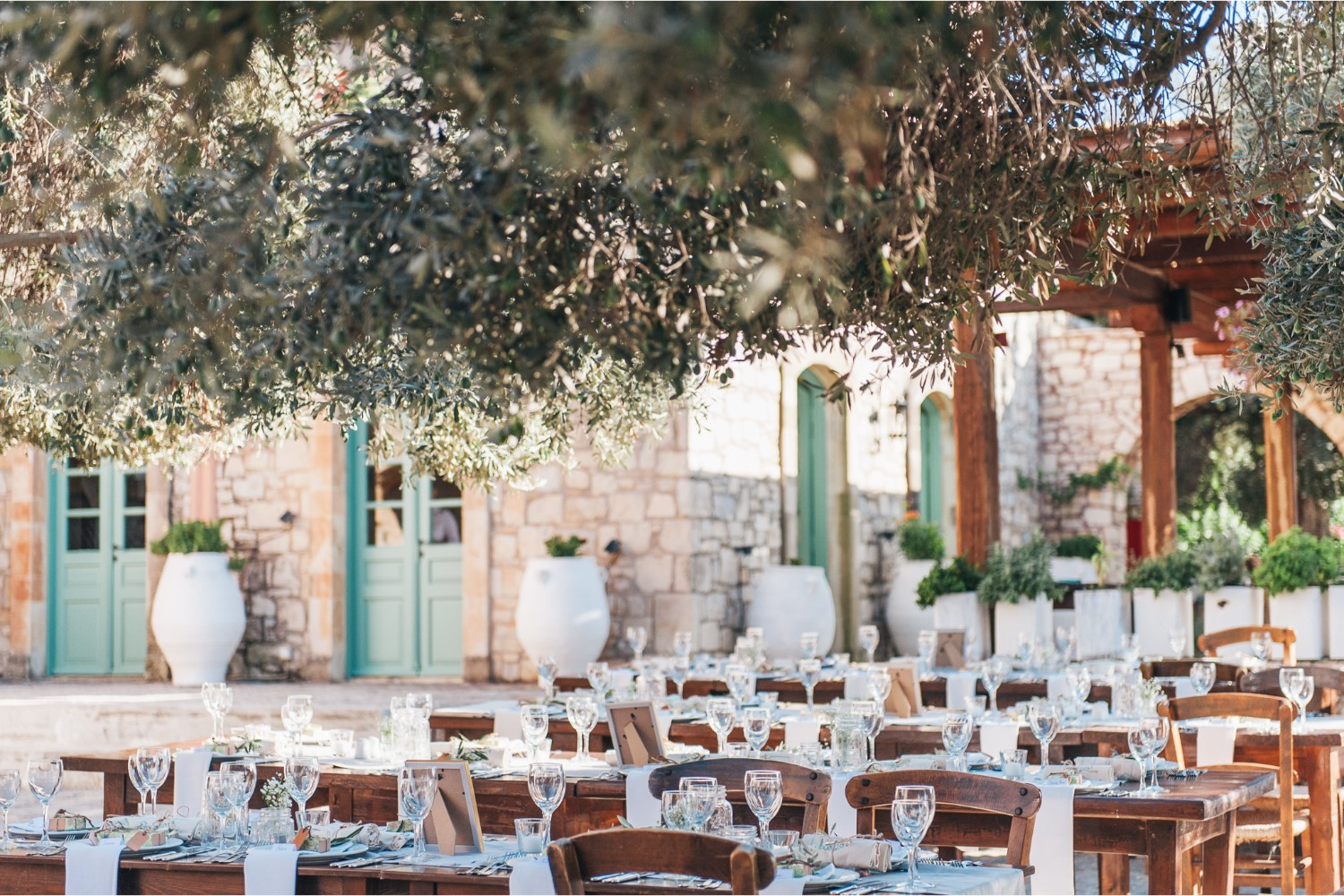 wedding reception at rustic estate in Crete