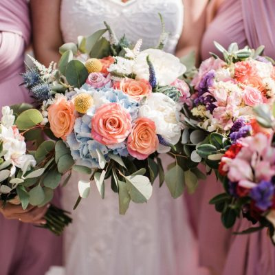 colourful spring bride & bridesmaid's bouquets