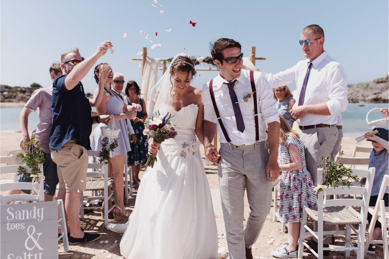 confetti moment at beach wedding ceremony in Crete