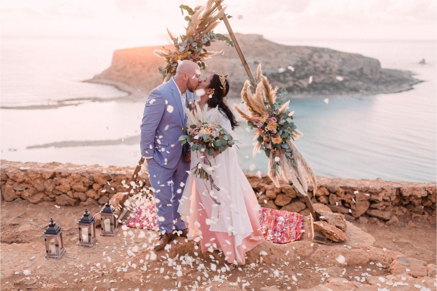 confetti moment at elopement ceremony