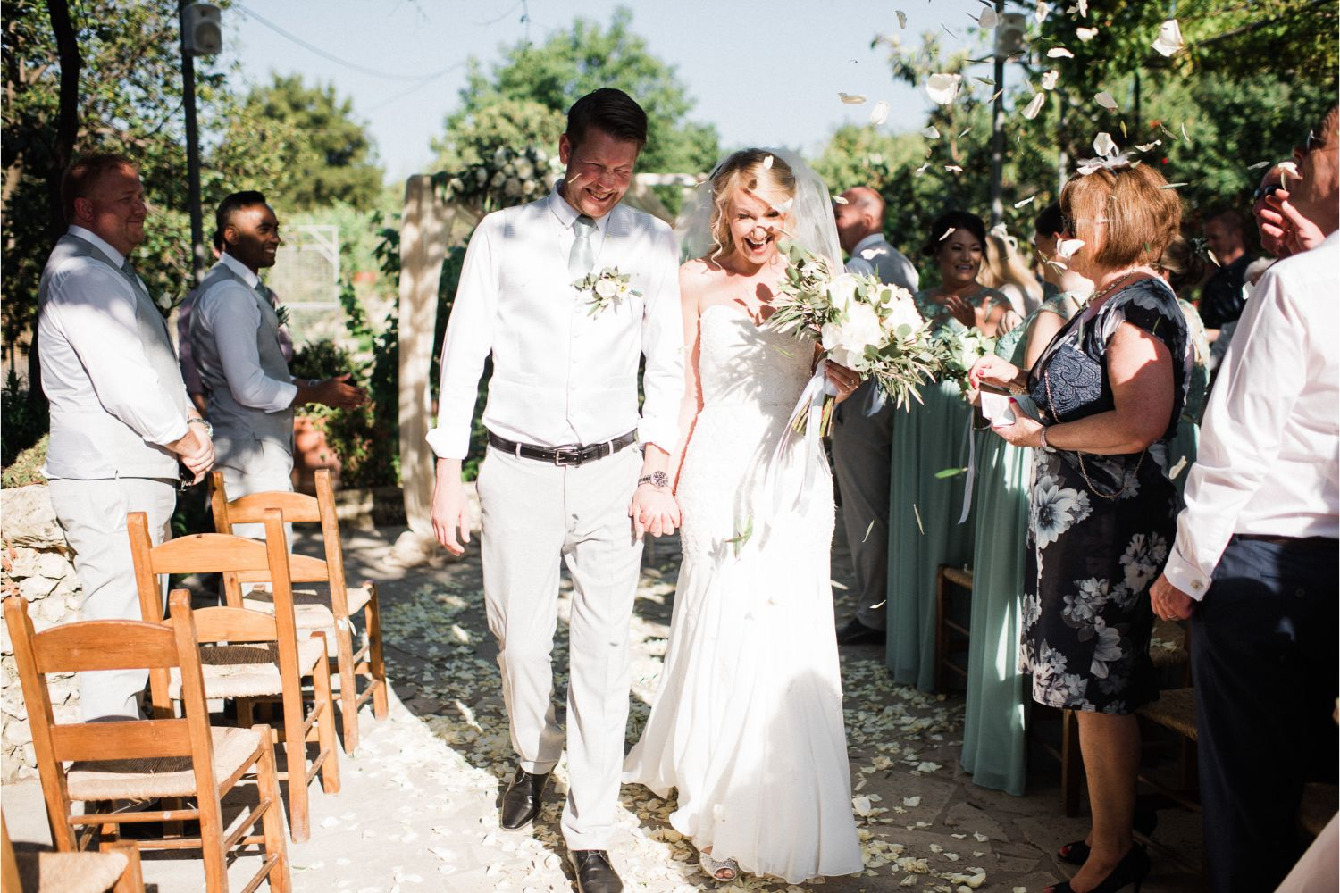 confetti moment at winery wedding