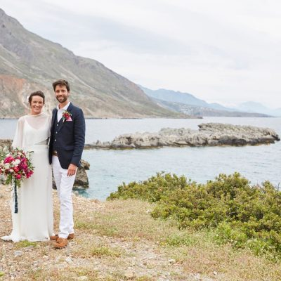 bride & groom in Cretan seaside village