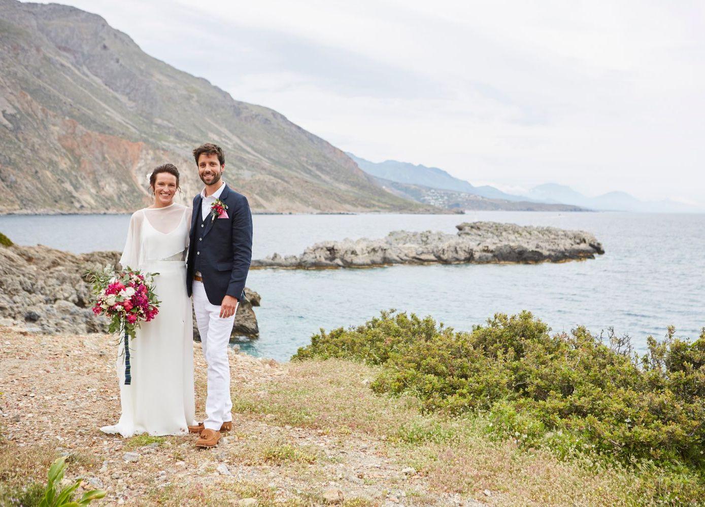bride & groom in Cretan seaside village