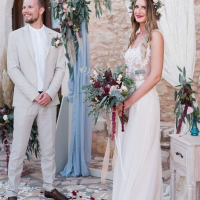 boho wedding ceremony at villa wedding in Crete