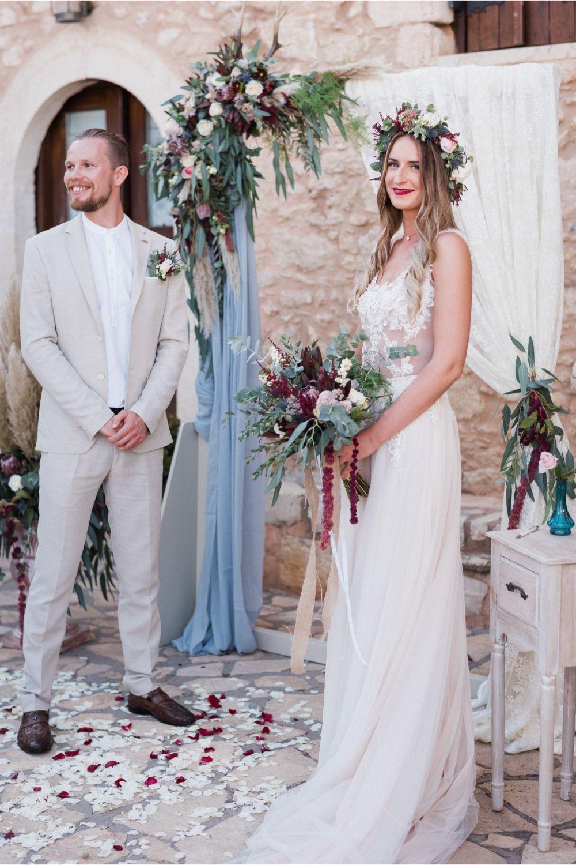 boho wedding ceremony at villa wedding in Crete