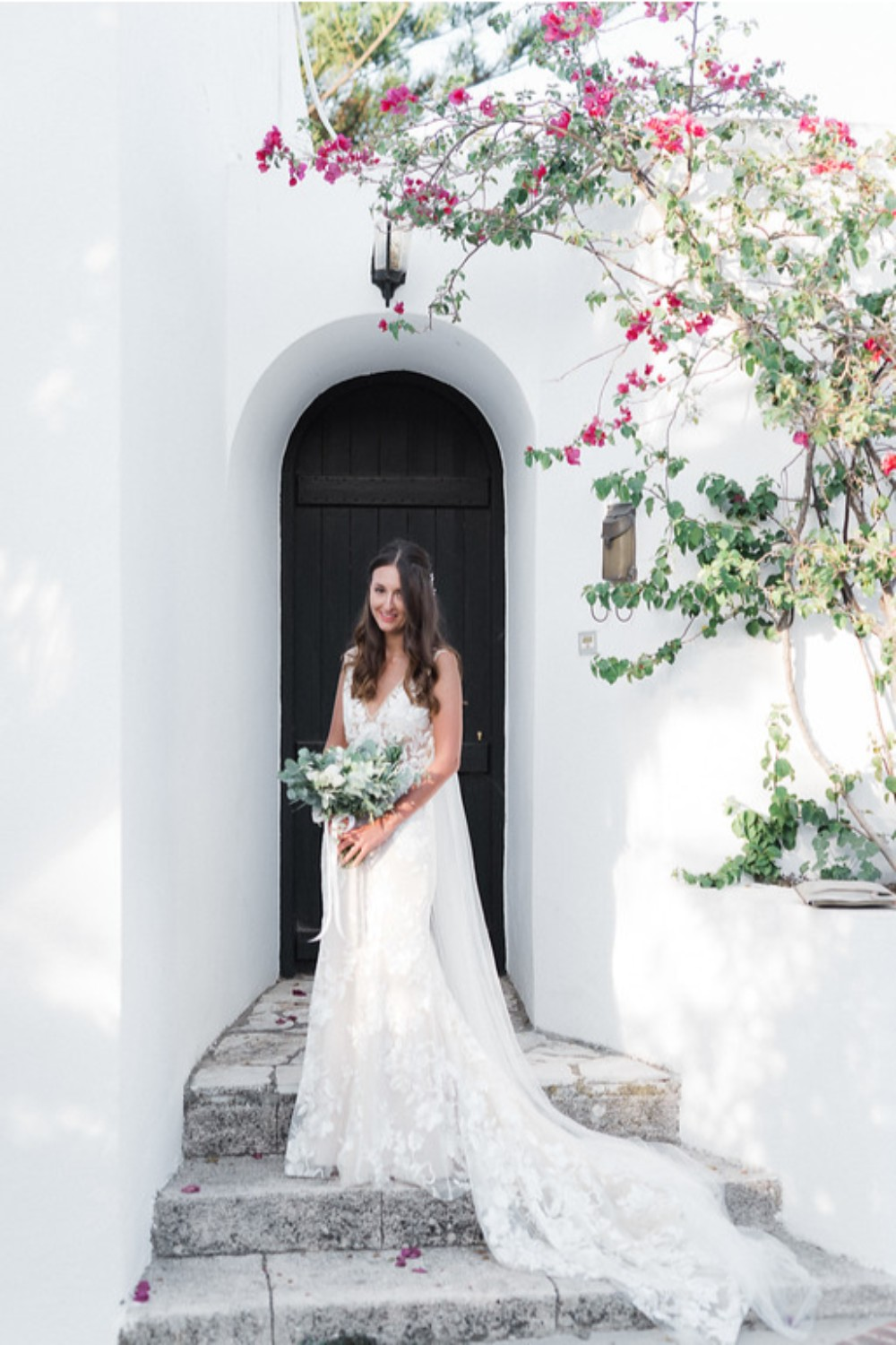 bridal look at winery wedding in Crete