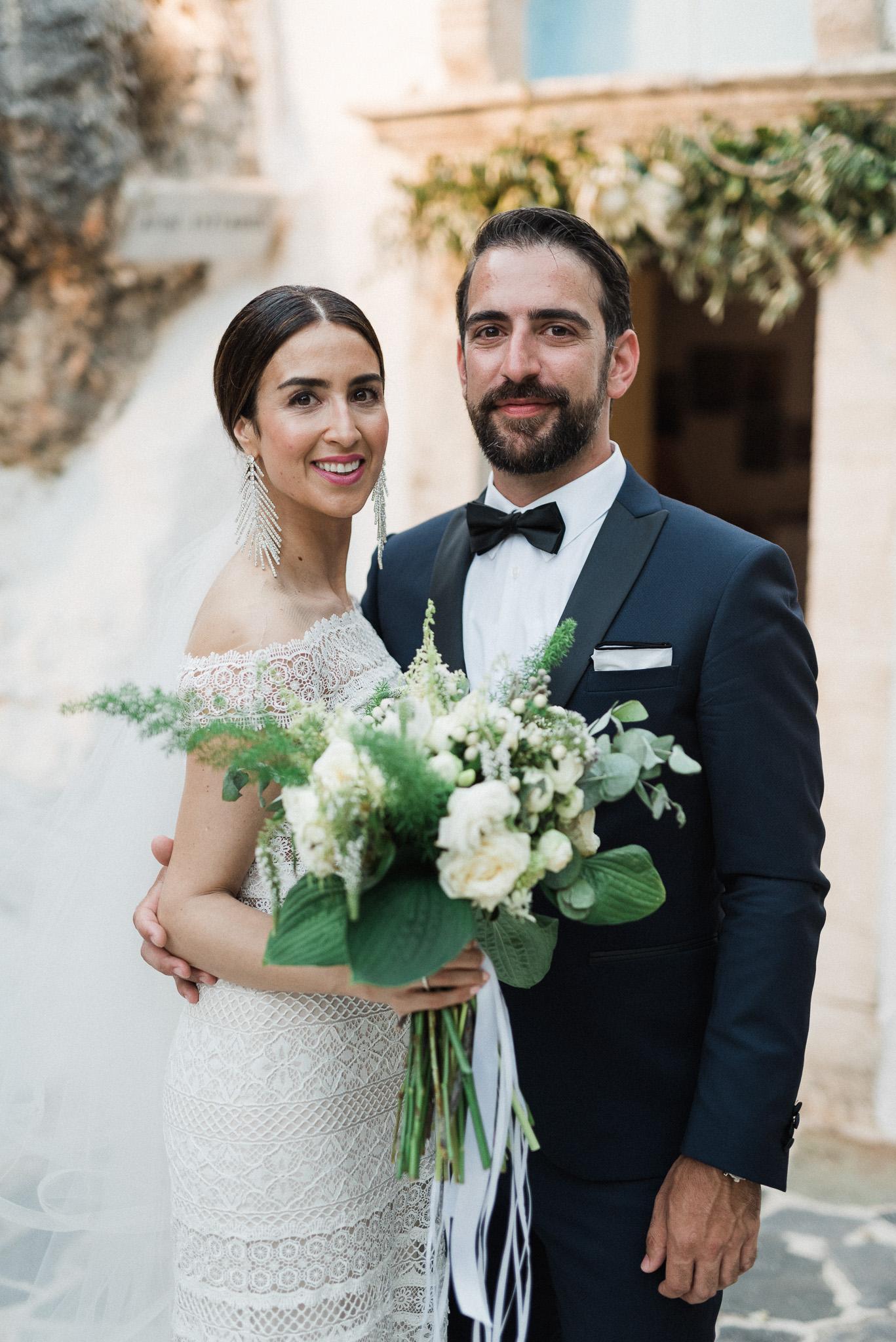 newlyweds at Greek Orthodox wedding ceremony in Crete