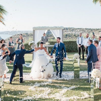 ceremony at villa wedding in Crete
