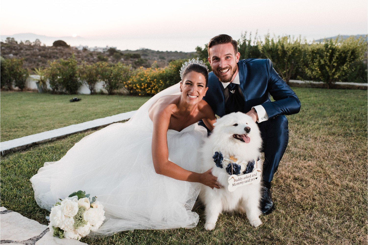 newlyweds & ring bearer at villa wedding in Crete