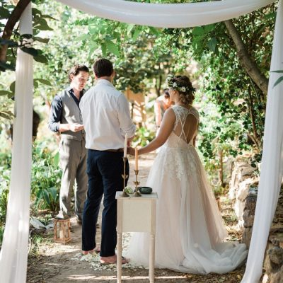 ceremony setup at garden elopement in Crete
