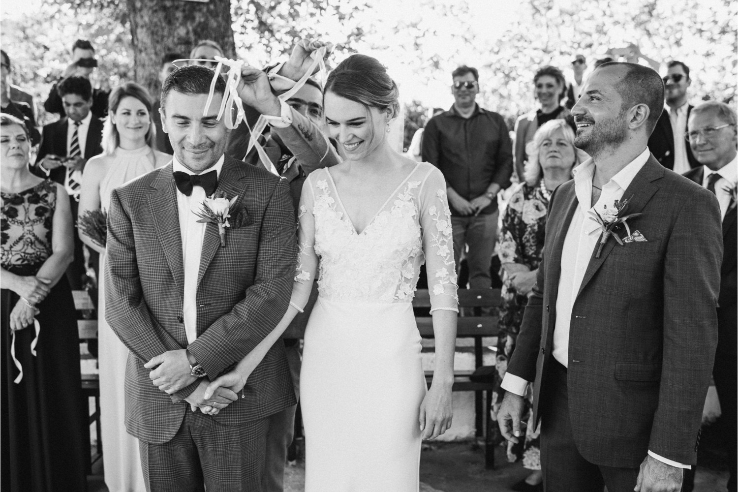 bride & groom at church wedding ceremony in Crete