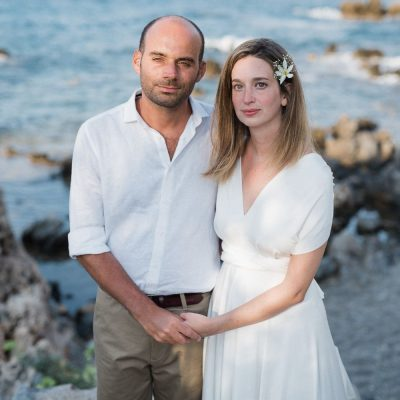 bride & groom at seaside villa wedding in Crete