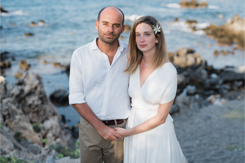 bride & groom at seaside villa wedding in Crete