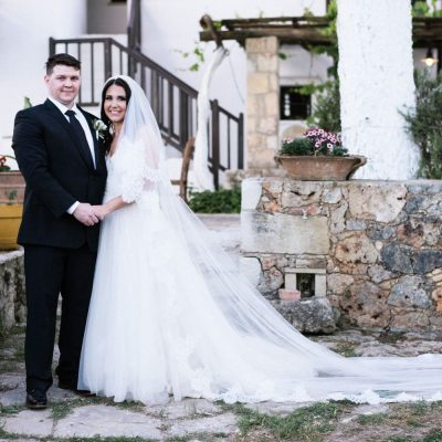 bride & groom at winery wedding in Crete