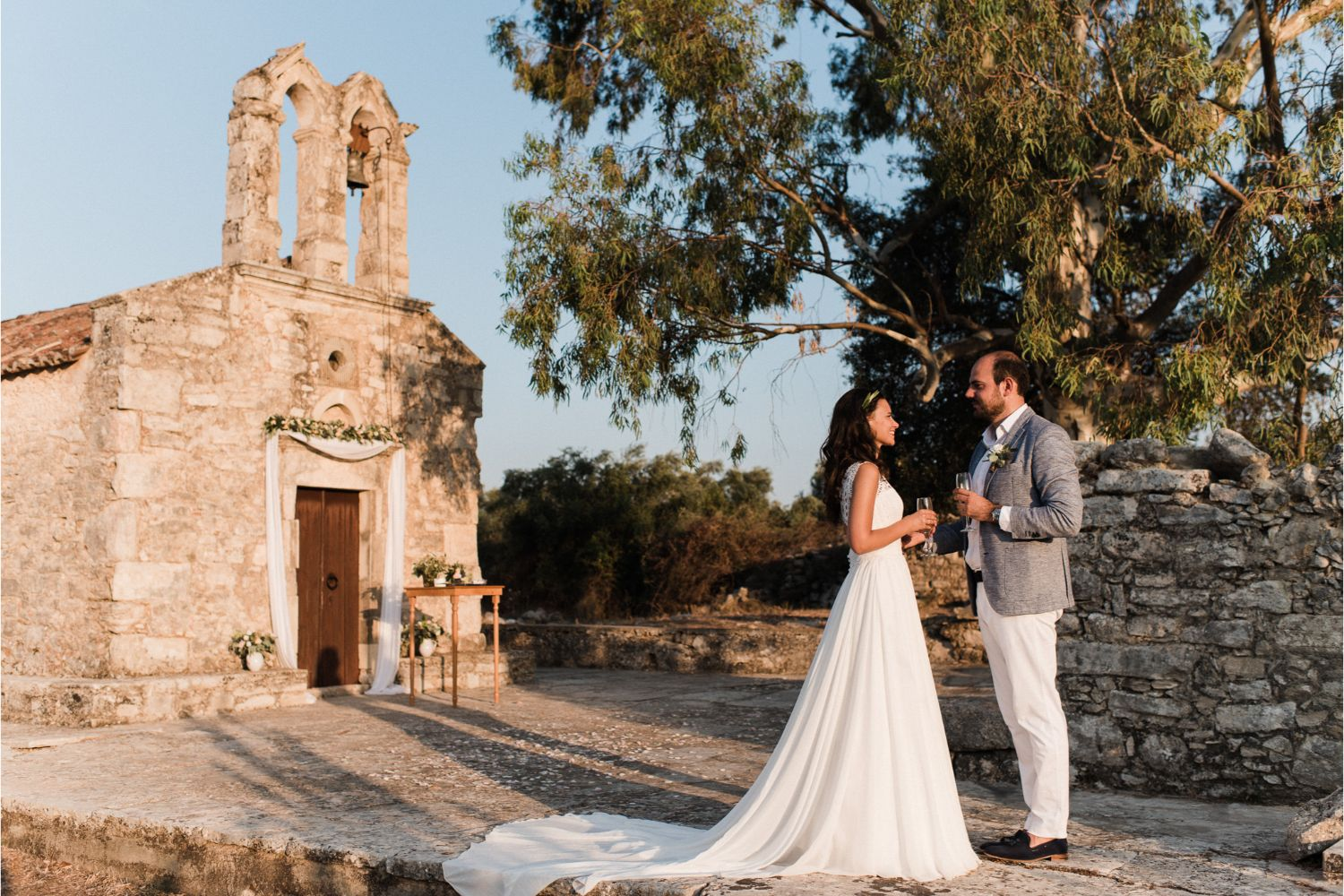 newlyweds at elopement in Greek chapel in Crete