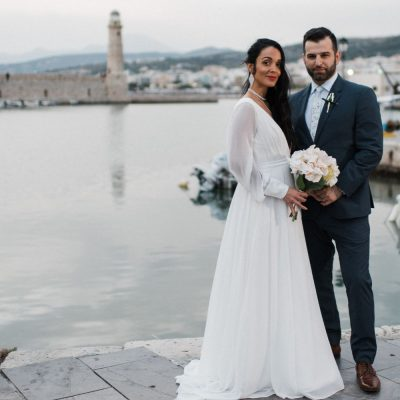 newlyweds photoshoot in Rethymno after private villa wedding in Crete