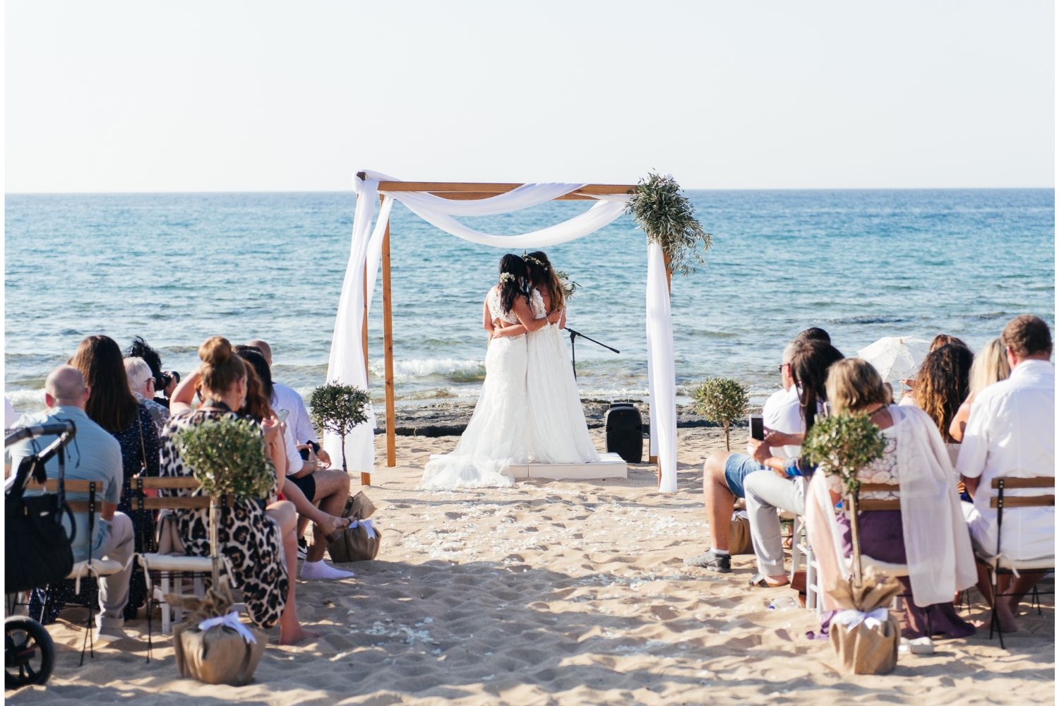 same-sex beach wedding ceremony in Crete