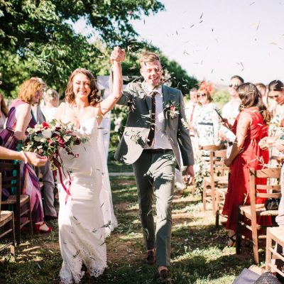 wedding recessional at winery wedding in Crete