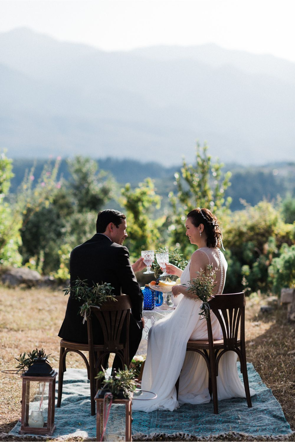 after-ceremony picnic at Greek chapel elopement in Crete