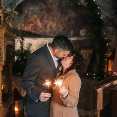 sparklers and kiss at vow renewal in Crete