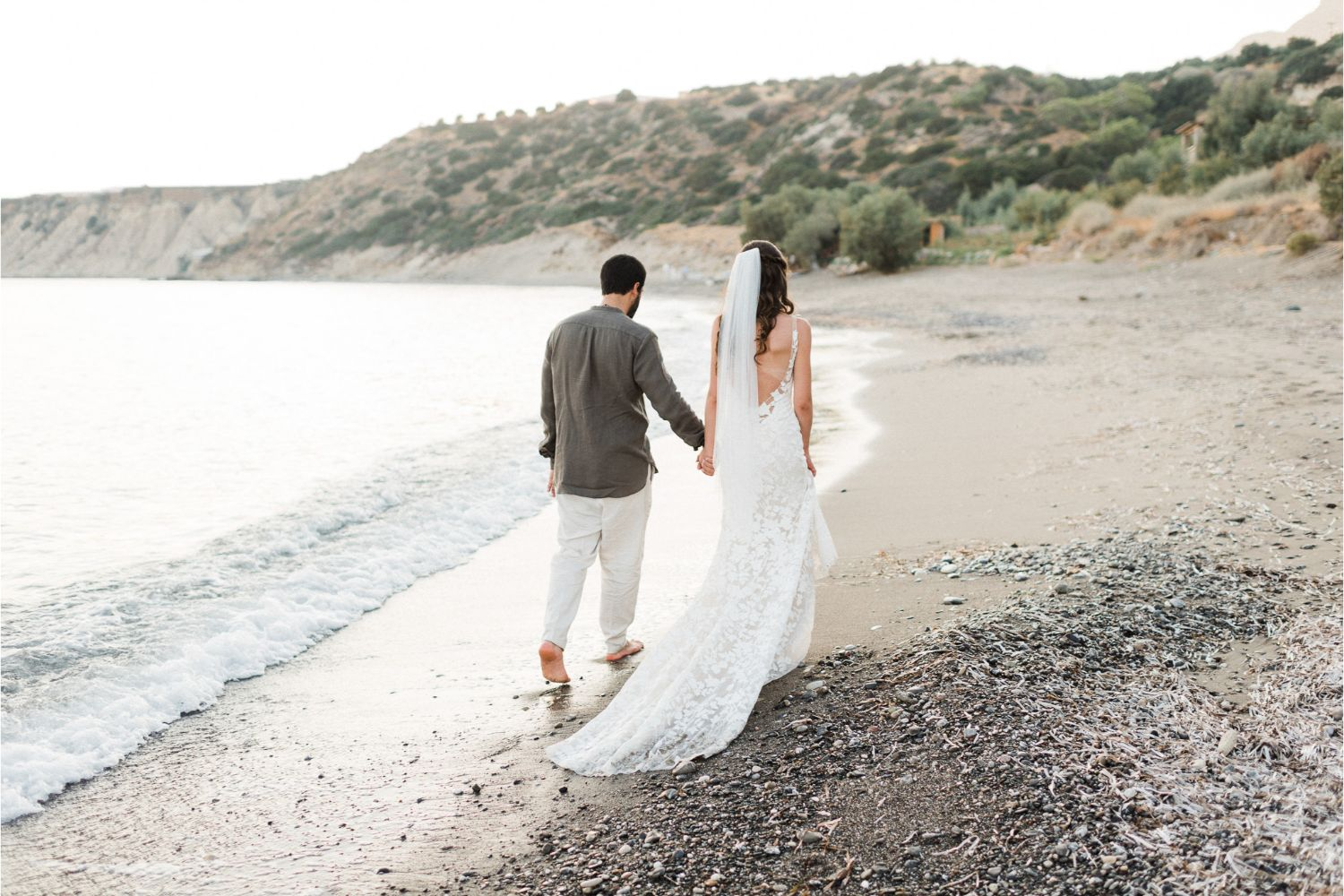 newlyweds photoshoot after beach ceremony in Crete