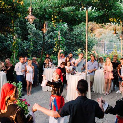 Cretan dancers at winery pre-wedding party in Crete