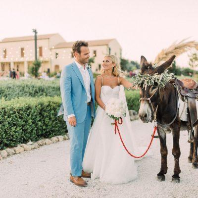 newlyweds & Cretan donkey at estate wedding