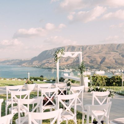 ceremony set-up & decoration at villa wedding in Crete