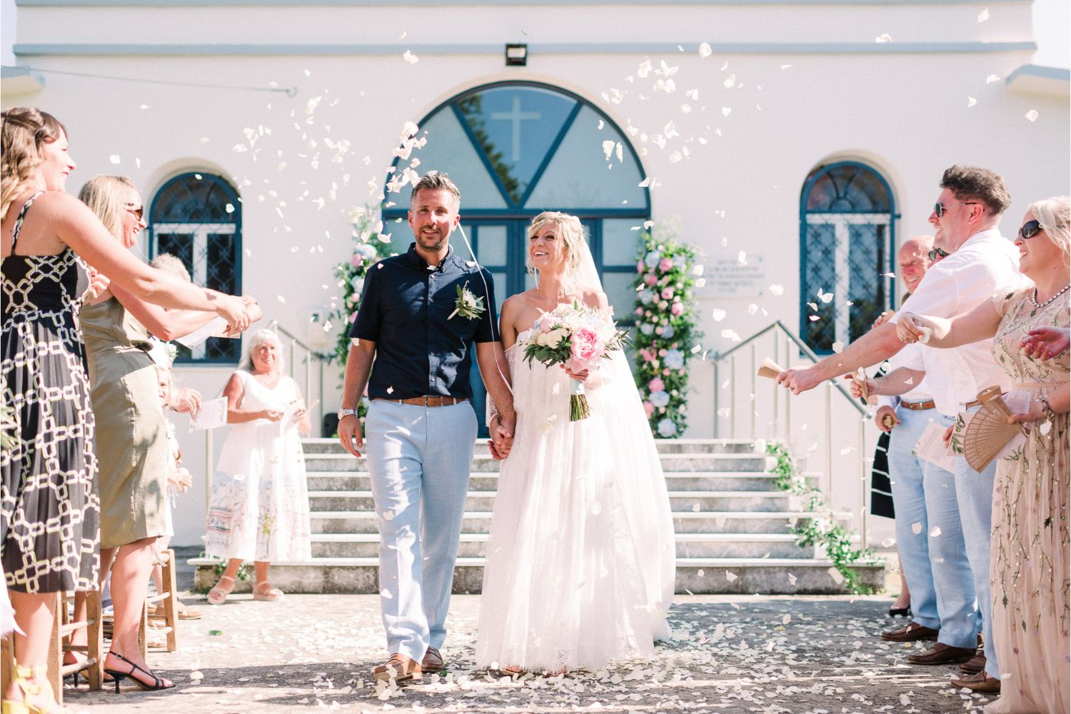 wedding recessional in rustic Cretan village