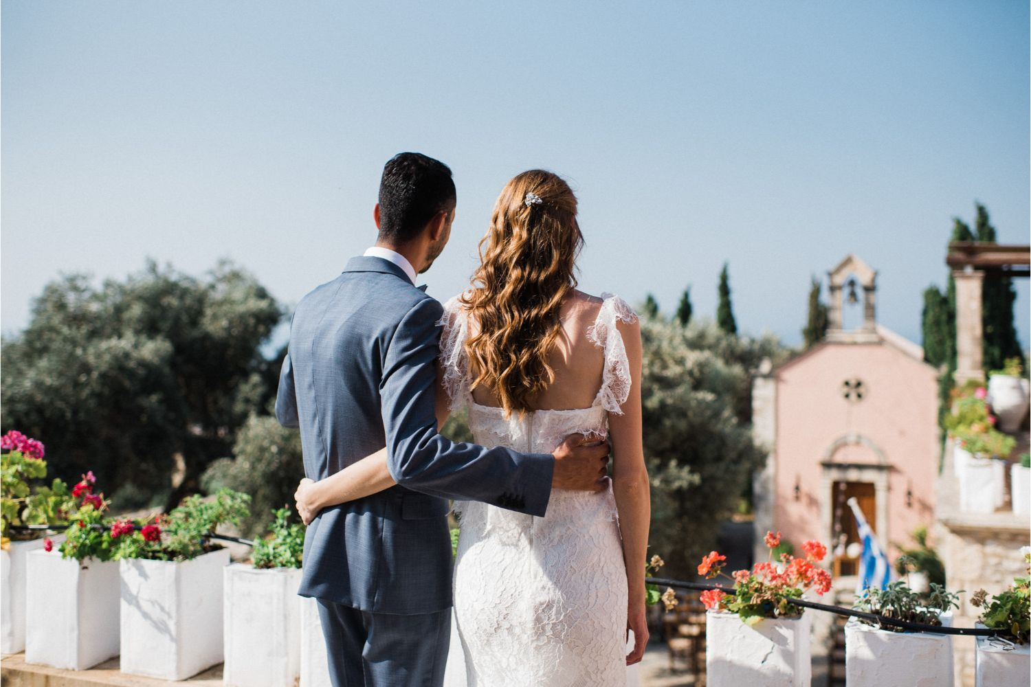 bride & groom at rustic wedding in Crete