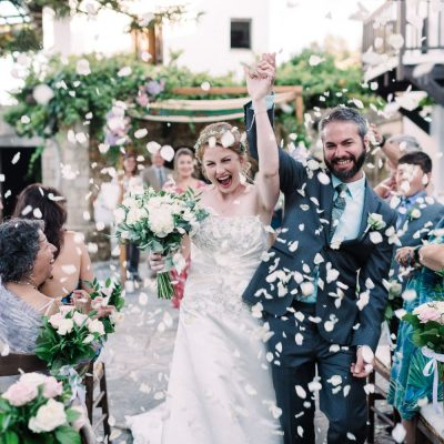 confetti moment at winery wedding ceremony in Crete