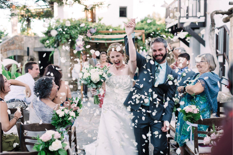 confetti moment at winery wedding ceremony in Crete
