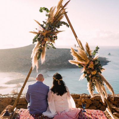 newlyweds at elopement in Balos beach in Crete