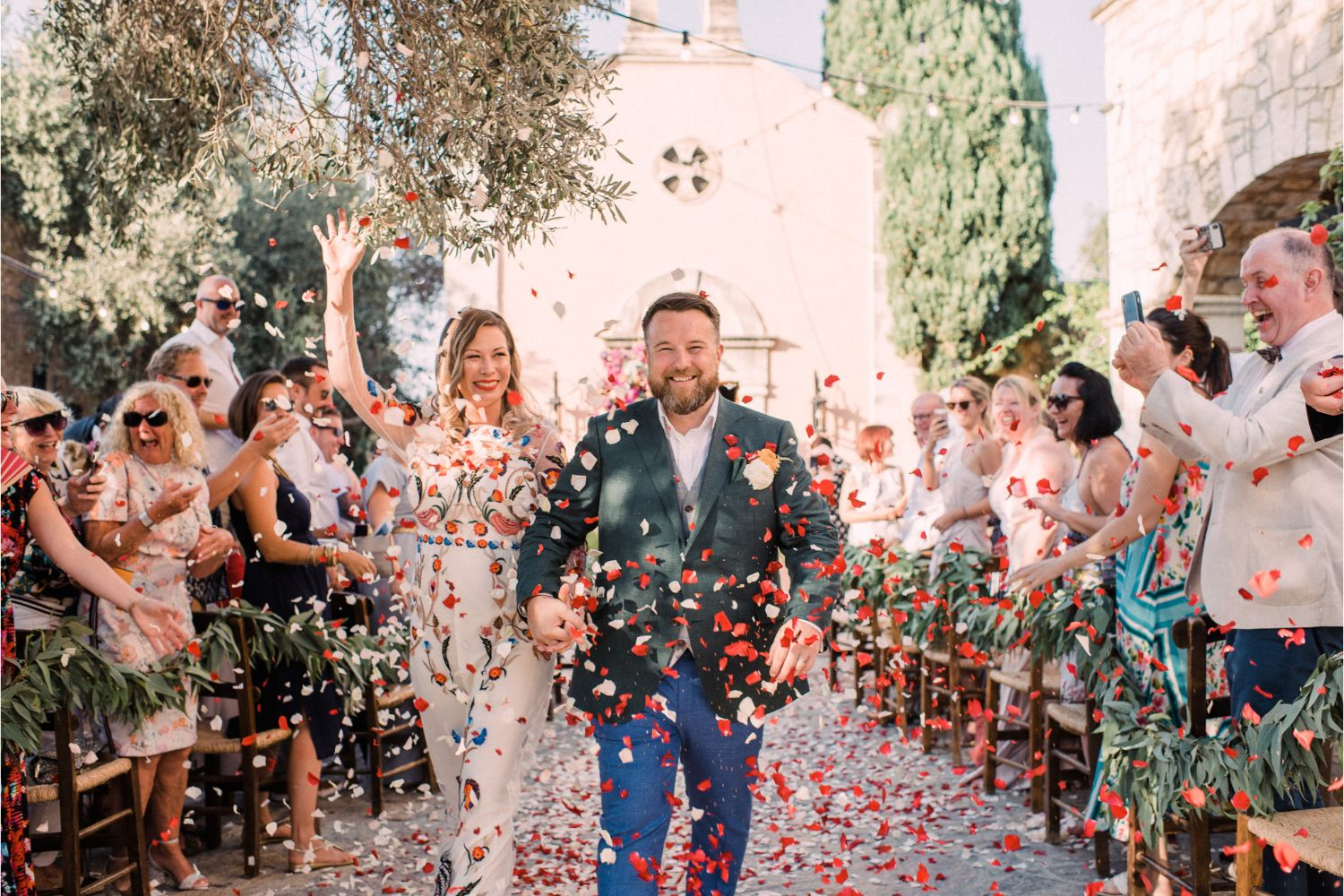 confetti moment at rustic wedding ceremony in Crete