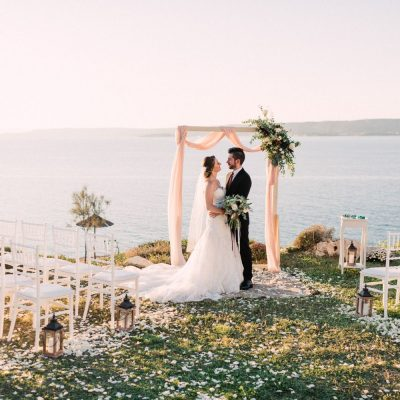 newlyweds at villa wedding ceremony in Crete