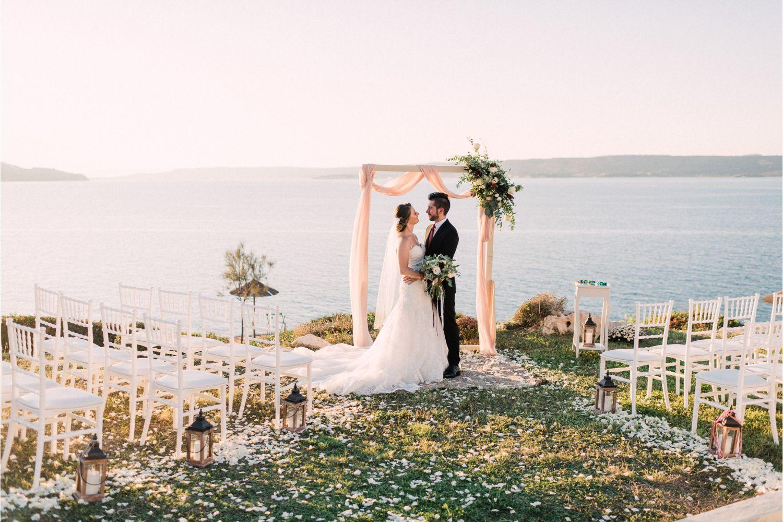 newlyweds at villa wedding ceremony in Crete
